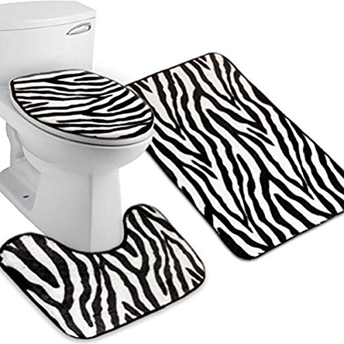 - Tinksky Flannel Lid Toilet Cover Pedestal Rug Bathroom Mat Set,Pack of 3 (Zebra-stripe)