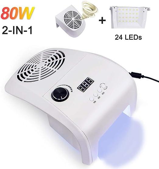BAI Nail 80W 2 en 1 Colector de Polvo de uñas Lámpara UV Secador ...