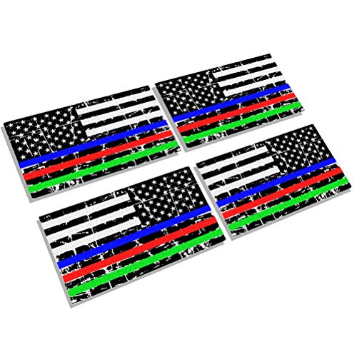 Creatrill Reflective Distressed Thin Blue Red Green Line Decal Matte Black – 2 Pairs 3x5 in. American USA Flag Decal Sticker for Car, Truck, Hard Hat, Support Police Fire Officer Military Troops -