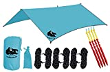 Chill Gorilla 10x10 Hammock Waterproof Rain Fly Tent Tarp 170' Centerline. Ripstop Nylon & Not Cheap Polyester Cover. Stakes Included. Survival Gear Backpacking Camping Accessories. Multiple Colors