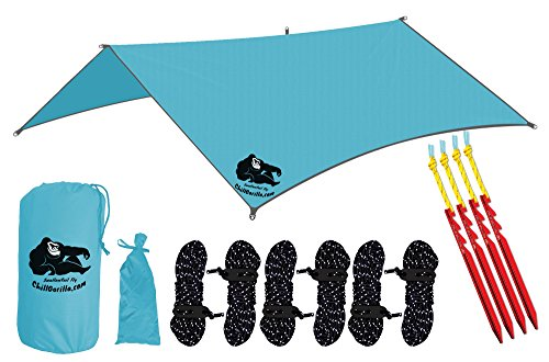 Chill Gorilla 10′ SWALLOWTAIL RAIN FLY TENT TARP Waterproof Camping Shelter. Lightweight RIPSTOP NYLON & Not Cheap Polyester. Stakes Included. Survival Gear. Backpacking Hammock & ENO Accessory. BLUE