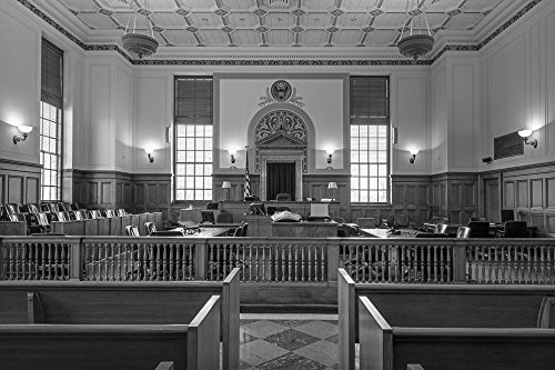 24 x 36 B&W Giclee Print of Courtroom at the Texarkana U.S. Post Office and Federal Building 2013 Highsmith 00a