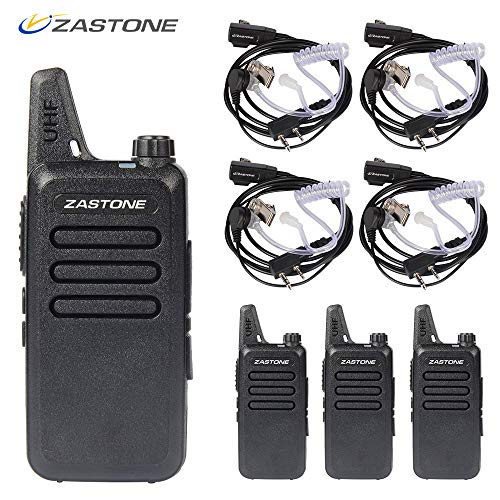Zastone X6 Rechargeable Long Range Two-Way Radios with Earpiece 4 Pack UHF 400-470Mhz Walkie Talkie