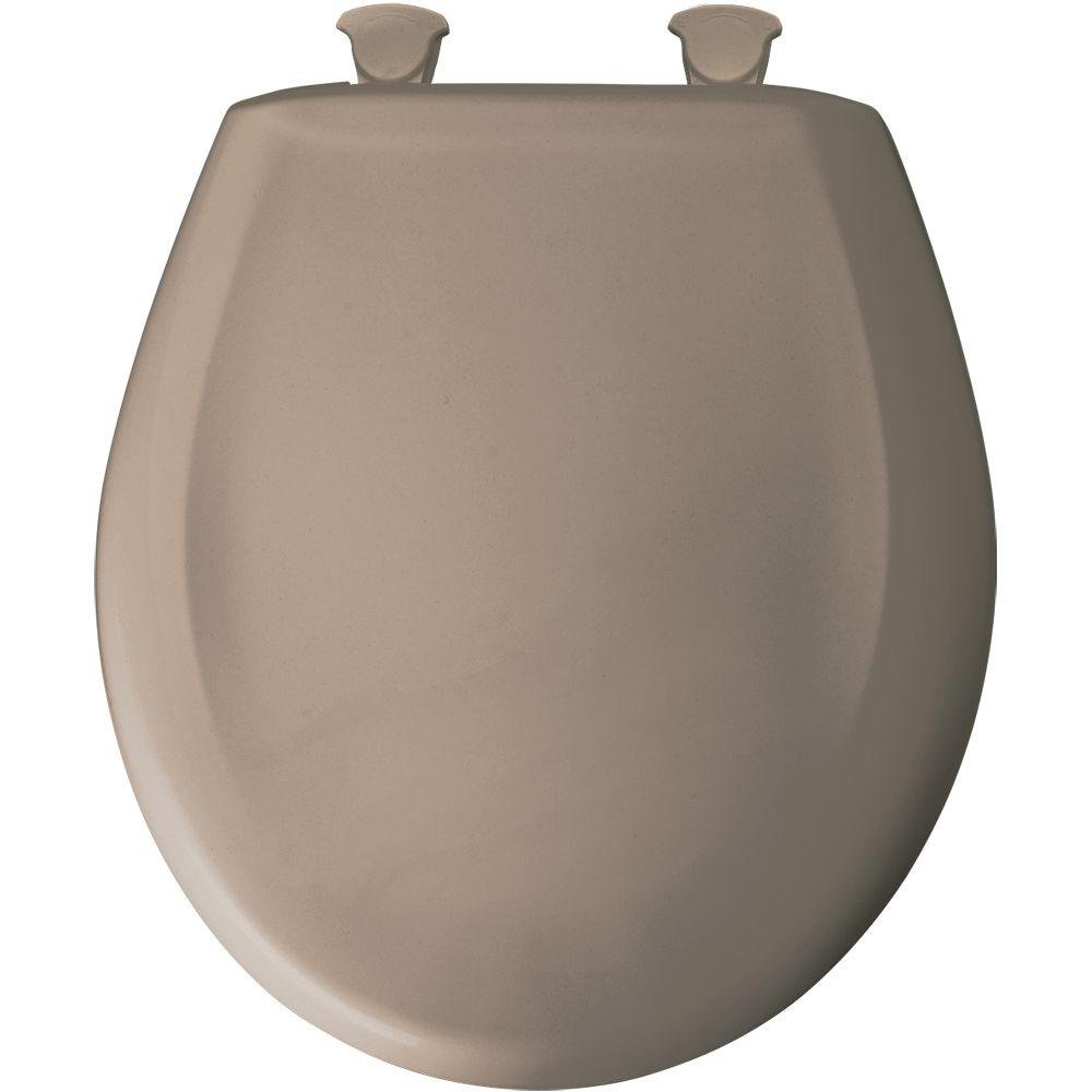 new Bemis 200SLOWT 018 Whisper Close Round Closed Front Toilet Seat, Spice Mocha