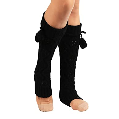 AOJIAN Women Winter Warm Knitted Socks Leg Warmers Boot Crochet Long Socks (Black): AOJIAN