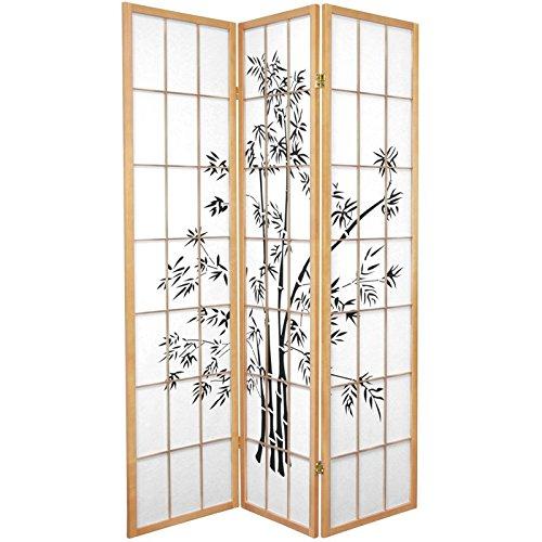 Oriental Furniture 6 ft. Tall Lucky Bamboo Shoji Screen - Natural - 3 Panels