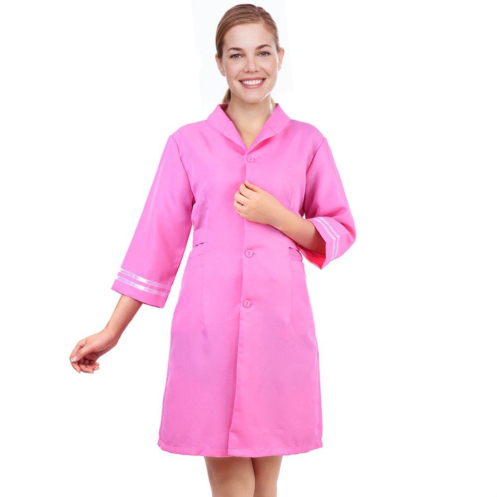 Salon Beautician Massage Dress, Ladies Turn-down Collar Beauty & Spa Workwear Uniform (XXXL) ZJchao