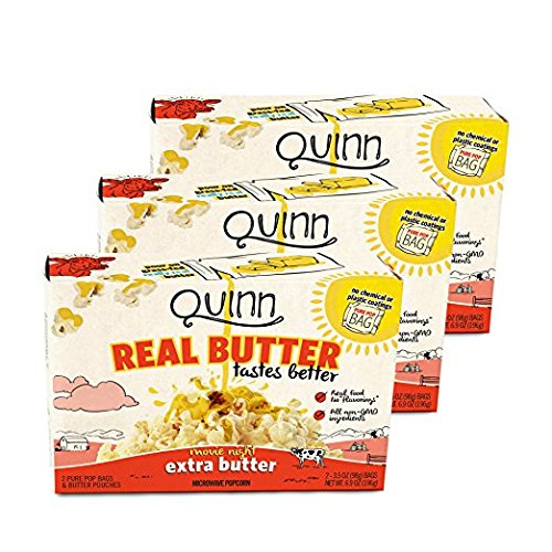 Quinn Snacks Real Butter Tastes Better - Microwave Popcorn Made With Grass-Fed Butter - Great Snack Food For Movie Night - Extra Butter, 3.7 Ounce (3 Count)