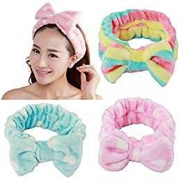 3Pieces Bowknot Headband for Girls Women Lovely Soft Carol Elastic Headband Hair Wrap Makeup Bands Shower Headband(pink, blue and rainbow color)