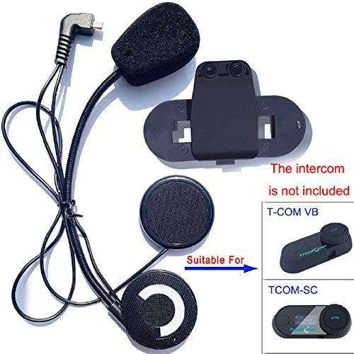 FreedConn Microphone Headphone Hard Cable Headset & Clip Accessory for T COMVB and T COMSC Series Motorcycle Helmet Bluetooth Interphone Motorbike