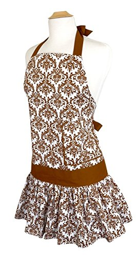 Flirty Aprons Women's Sadie Damask Apron - Brown Damask Gift Shopping Results