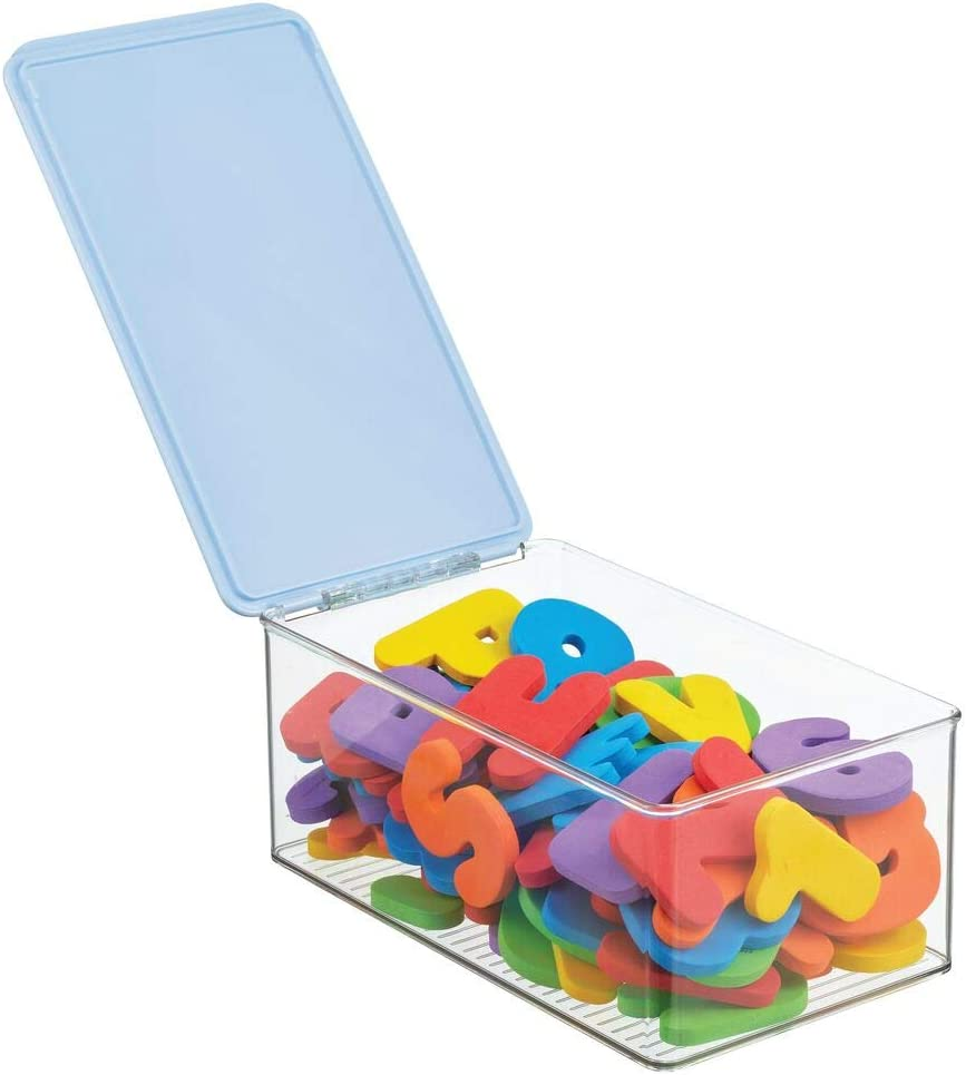 Markers Dog//Cat Toy Box Puzzles mDesign Playroom Stackable Plastic Storage Box with Lid for Organizing Baby//Childs//Kids Toys Crafts Crayons Crayons Clear//Light Blue Action Figures Blocks