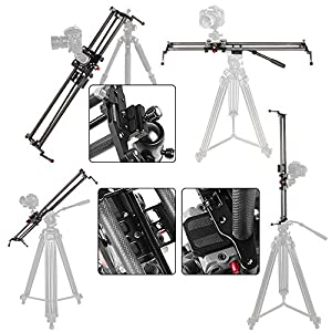 ASHANKS S2 0.6m/1.9ft Track Camera Slider Carbon Fiber Adjustable Angle Tube Follow Focus Pan for Stabilizer DV DSLR Camera Youtube Video Shooting