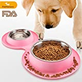 Petfactors FDA certified Dog Bowls, Stainless Steel Dog Food Bowl with No Spill Non-Skid Silicone Mat 65 OZ Feeder Bowls Pet Bowl for Feeding Dogs Cats and Pets