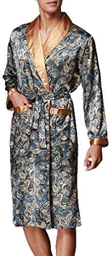 FLYCHEN Men s Shawl Collar Kimono Robe Satin Floral Bath Sleepwear 096859b3a