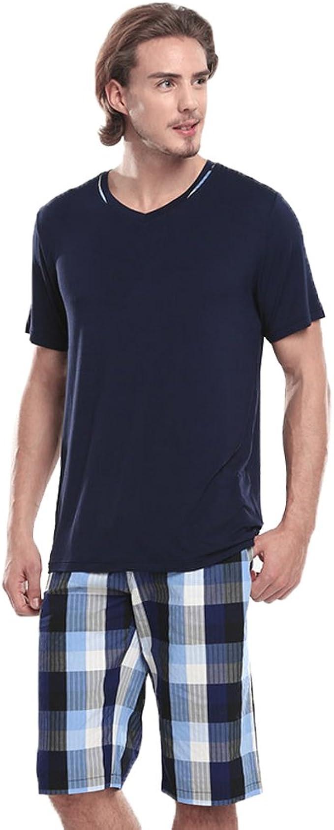Fitibest Hombre Conjunto de Pijama Pijamas Ropa Interior,Manga Corta Camiseta y Pantalones Cortos de Cuadros