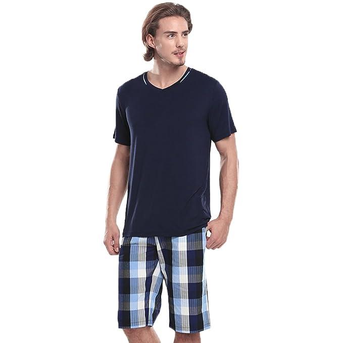 Fitibest Hombre Conjunto de Pijama Pijamas Ropa Interior,Manga Corta Camiseta y Pantalones Cortos de