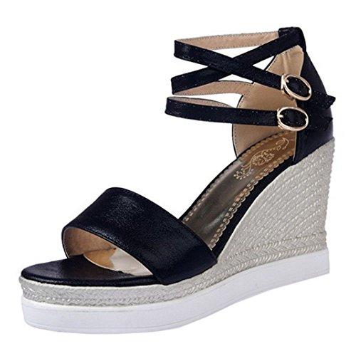 Wedges Platform Glitter Summer Women Sandals Black KemeKiss Shoes PpFqW