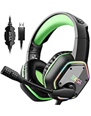 EKSA Gaming Headset, 7.1 Surround Stereo Sound, PS4 PC USB Gaming Headphones with Noise Canceling Mic & RGB Light Over Ear Headphones, Compatible with PC, PS4 Console (Green)