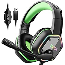 EKSA 7.1 USB Gaming Headset - Surround Stereo Sound - PS4 Headphones with Noise Canceling Mic & RGB Light Over Ear Headphones, Compatible with PC, PS4 Console, Laptop (Green) (Renewed)