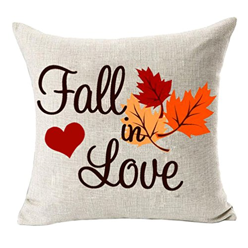 MFGNEH Home Decor Fall in Love Cotton Linen Pillow Covers 18x18, Autumn Decor Maple Leaves Throw Pillow Case Cushion Cover for Sofa,Wedding Gift -