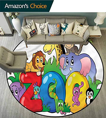 RUGSMAT Zoo Modern Washable Round Bath Mat,Zoo Sign Various Mascots Floor Mat Home Decor Round-47