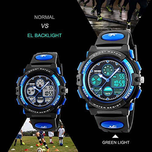Kids Sports Digital Watch, Boys Girls Outdoor Waterproof Watches Children Analog Quartz Wrist Watch with Alarm - Blue by cofuo (Image #3)