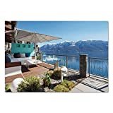 Large Wall Mural Sticker [ Modern Decor,Lake View with Snowy Peak Mountain Ocean Seascape Balcony House Image,Sky Blue and Brown ] Self-adhesive Vinyl Wallpaper / Removable Modern Decorating Wall Art