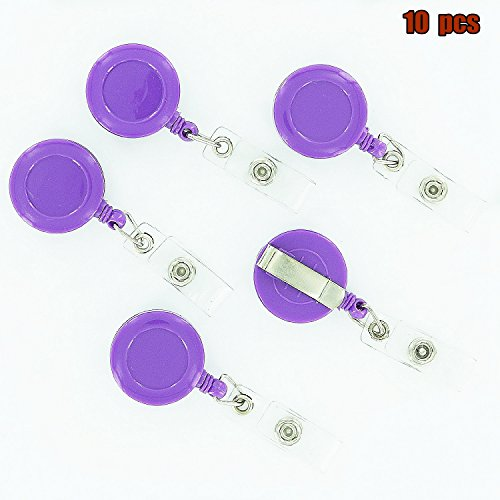 Retractable Badges,Dealzip Inc Purple Perfect Retractable Badge Reel ID Business Card Key Card Name Tags Holders Belt Clip-10 pcs - Baseball Card Sales