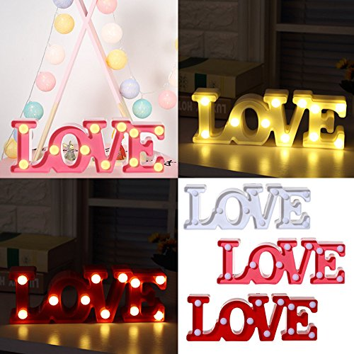 Lite Double Glass Pendant - Gotian Love Alphabet Lights LED Light Up White Plastic Letters Standing Hanging, Add an Elegant Glow to Your Table Decoration with Our Beautiful Night Light (red)