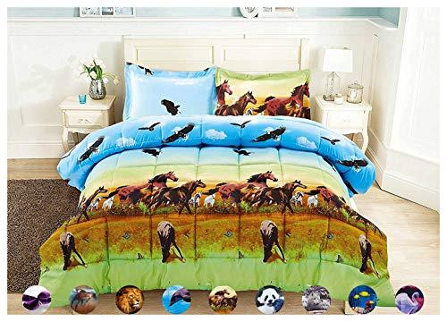 HUAJIE 2 Piece Set Beautiful Soft 3D Print Vivid Animals Pattern Box Stitched Comforter Set (1 Comforter,1 Pillowcase) (Twin, Horse Eagle) ()