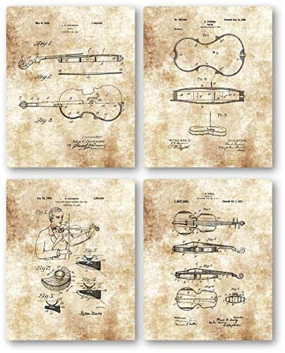 Original Violin Drawings - Music Studio or Practice Room Decor- Set of 4 8 x 10 Unframed Patent Prints - Great Gift for Violinists, String Ensembles, Conductors and Musicians (String Ensemble Violin)