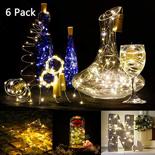 Set of 6 Warm White Wine Bottle Cork Lights - 39inch 15 LED Copper Wire Lights String Starry LED Lights for Bottle DIY, Party, Decor, Christmas, Halloween, Wedding or Mood -