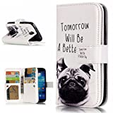 OuDu Folio Wallet Case with Card Slots for Samsung Galaxy S4 PU Leather Cover Silicone Inner Shell Soft Book Style Bumper Flexible Special Design Skin - Handsome Dog