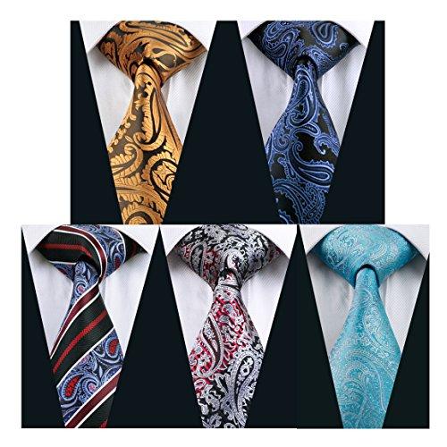 Hi-Tie 5PCS Retro Paisley Necktie for Wedding Party Silk