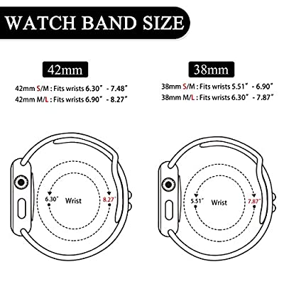 Booyi Sport Band for Apple Watch 38mm 42mm 40mm 44mm, Soft Silicone Replacement Bands for iWatch Apple Watch Series 4,Series 3,Series 2,Series 1 Nike+,Sport,Edition - S/M M/L from CFYD-APP-03
