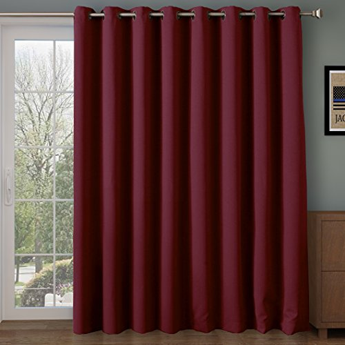 Rose Home Fashion RHF Wide Thermal Blackout Patio Door Curtain Panel, Sliding Door Curtains Antique Bronze Grommet Top 100W by 84L Inches-Burgundy ()
