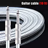 Kmise Guitar Instrument Cable Cord Straight 10ft OFC Braided Low Noise for Electric Guitar