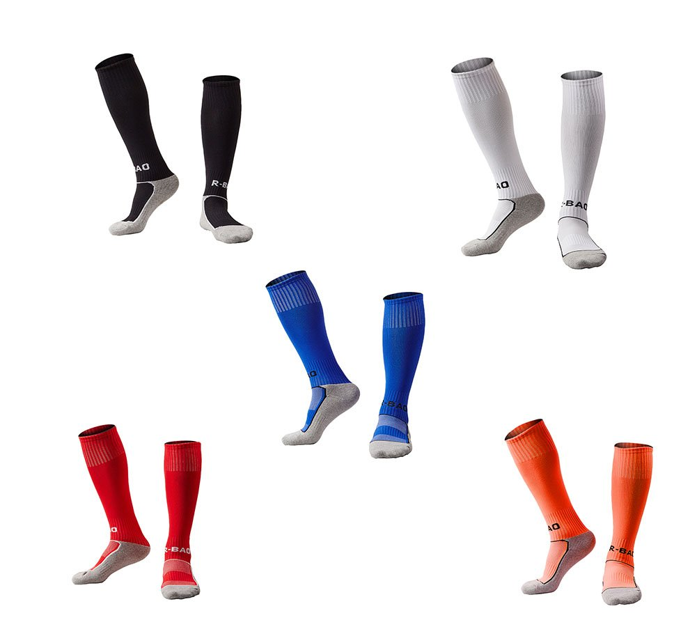 OUAYJI kids Knee High Sport Towel Bottom training compression Soccer Football Socks 5 pairs black&white&red&blue&orange by OUYAJI
