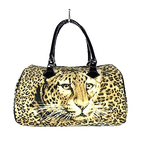 Women Handbag Leopard Print Tote Purse Faux Fur Brown & Black (Handbag Leopard Purse Print)