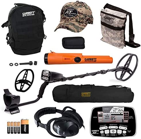 Garrett AT PRO Metal Detector Bonus Pack with Pro-Pointer AT, Headphones, Pouch, Backpack, Hat, Searchcoil Cover and 50 Travel Bag