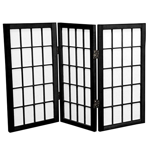 Oriental Furniture 2 ft. Tall Desktop Window Pane Shoji Screen - Black - 3 Panels(B)