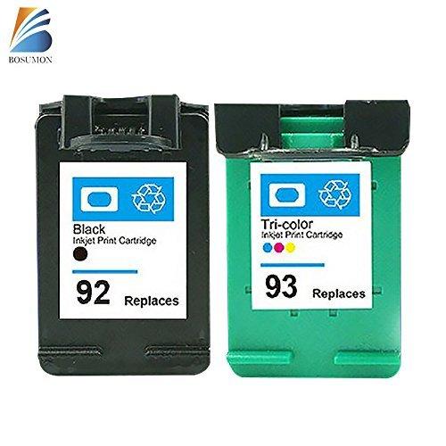 BOSUMON 2pk Remanufactured Ink Cartridges Compatible for Hp 92 Hp 93 Photosmart C3135 C3140 C3150 C3180 C4180 7850
