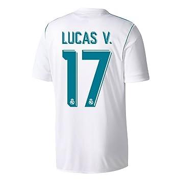 70b165a49e1 Real Madrid Home Lucas V. No17 Shirt 2017 2018 (Official Player Printing) -