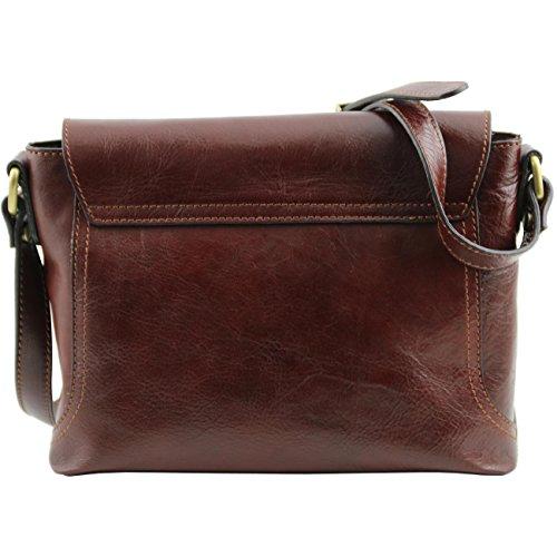 Tuscany Leather Jody Tracollina in pelle con pattella Testa di Moro Nero