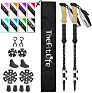 TheFitLife Carbon Fiber Trekking Poles – Collapsible and Telescopic Walking Sticks with Natural Cork Handle an