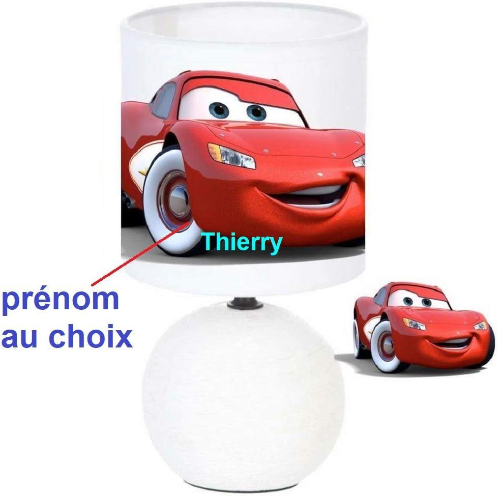 Personnalis/é le pr/énom de lenfant Lampe de chevet CARS LIGHTNING MCQUEEN cr/éation artisanale