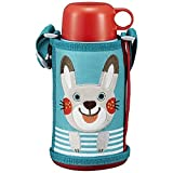 Tiger water bottle 600 ml with direct drinking cup 2 WAY stainless steel bottle with pouch Sahara Colobocle Rabbit MBR-B06G-AR Tiger (rabbit)