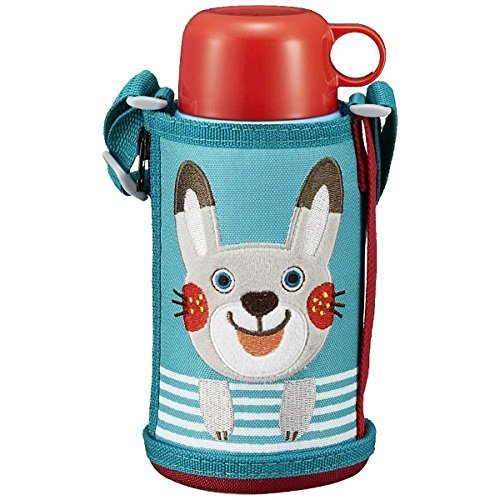 Tiger water bottle 600 ml with direct drinking cup 2 WAY stainless steel bottle with pouch Sahara Colobocle Rabbit MBR-B06G-AR Tiger (rabbit) by Tiger