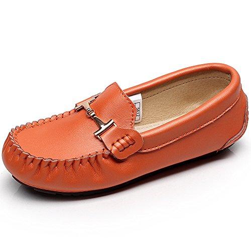 Rismart Mujer Lujoso Mental Ornamento Mocasines Cuero Suave Zapatos de Verano Naranja